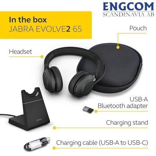 in the box jabra evolve2 65 stand usb a svart jabra evolve2 65 Jabra Evolve2 65 USB-A Stand Svart