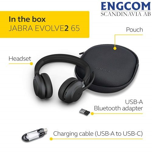 in the box jabra evolve2 65 usb a svart jabra evolve2 65 Jabra Evolve2 65 USB-A Svart