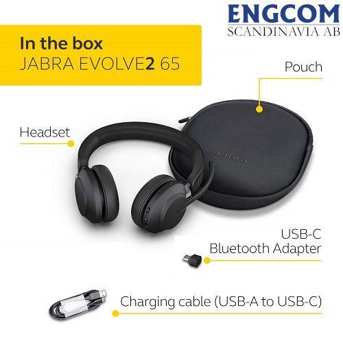 in the box jabra evolve2 65 usb c svart jabra evolve2 65 Jabra Evolve2 65 USB-C Svart