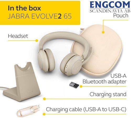 inthe box jabra evolve2 65 stand usb a beige jabra evolve2 65 Jabra Evolve2 65 USB-A Stand Beige