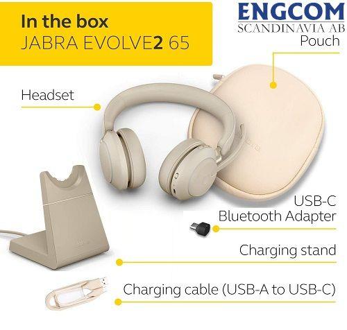 inthe box jabra evolve2 65 stand usb c beige jabra evolve2 65 Jabra Evolve2 65 USB-C Stand Beige