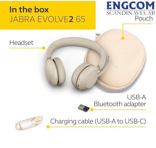inthe box jabra evolve2 65 usb a beige jabra evolve2 65 Jabra Evolve2 65 USB-A Beige