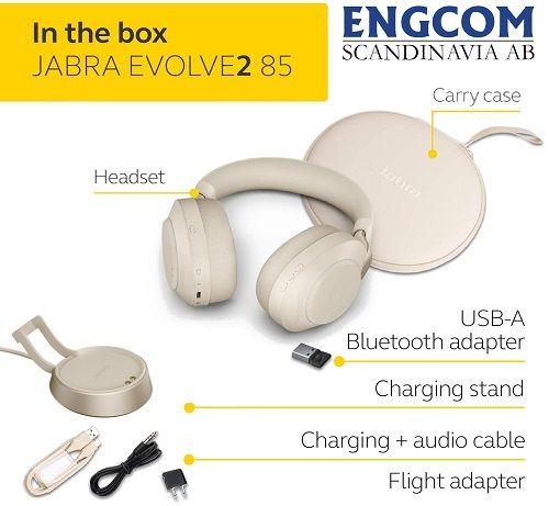 inthebox jabra evolve2 85 stand usb a beige jabra evolve2 85 Jabra Evolve2 85 USB-A Stand Beige