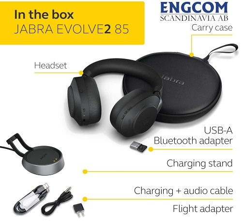 inthebox jabra evolve2 85 stand usb a svart jabra evolve2 85 Jabra Evolve2 85 USB-A Stand Svart