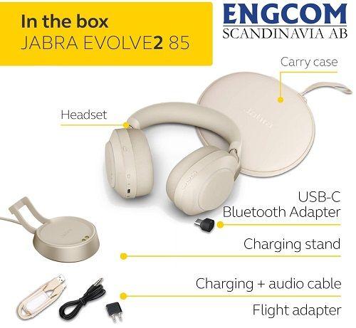 inthebox jabra evolve2 85 stand usb c beige jabra evolve2 85 Jabra Evolve2 85 USB-C Stand Beige