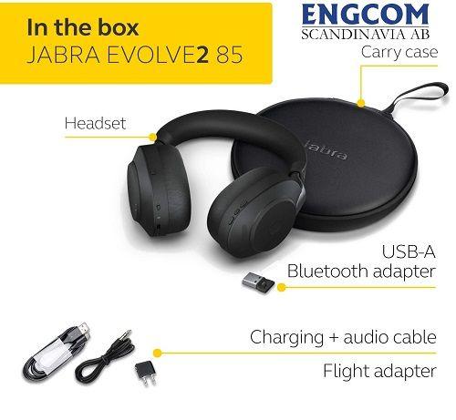 inthebox jabra evolve2 85 usb a svart jabra evolve2 85 Jabra Evolve2 85 USB-A Svart