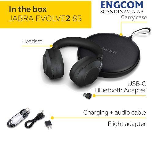 inthebox jabra evolve2 85 usb c svart jabra evolve2 85 Jabra Evolve2 85 USB-C Svart